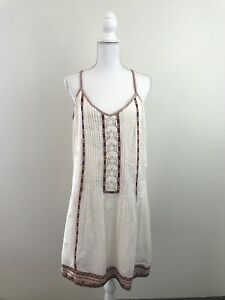 Joie Womens Horlane Dress in Natural Size L $318 NWT Peasant Cream Sleeveless