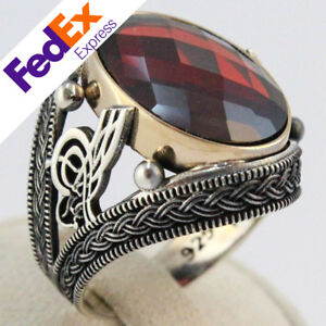 Turkish Handmade 925 Sterling Silver Ruby Ottoman Tugra Men's Ring All Sizes