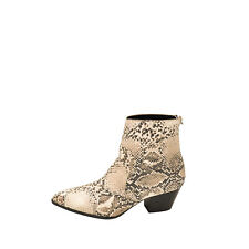 Qupid MYSTIQUE 01 Beige / Brown Snake Women's Pointy Toe Ankle Boots