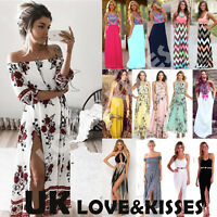 UK Womens Ladies Off Shoulder Floral Holiday Maxi Dress Summer Beach Size6-14