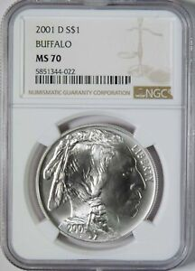 2001 D BU Buffalo Commemorative Silver Dollar $1 NGC Graded MS70
