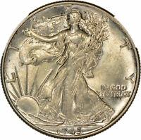 1945 50c Walking Liberty Half Dollar - Light Original Toning - UNC - Lot-Z891