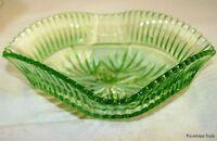 1930S BOWL BRITISH VINTAGE ART DECO DISH CARVED GREEN FLINT GLASS
