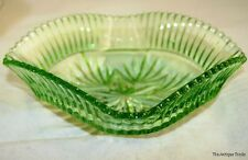 1930S BOWL BRITISH VINTAGE ART DECO DISH CARVED GREEN FLINT GLASS