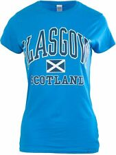 Gents Harvard Style T-Shirt With Glasgow Text Saltire Logo Sapphire Size Medium