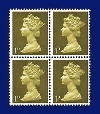 1968 SG724 1d Light Olive Head A Spec U2(1) Block (4) MNH axjk