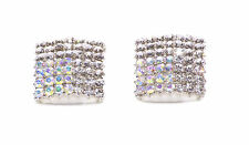 SPARKLY BLING SQUARE SILVER LARGE EARRINGS DIAMANTE ENCRUSTED BASE (NS1)