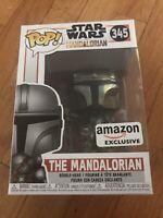 Mint Funko POP! Star Wars 345 The Mandalorian Chrome Mando AMAZON Collector