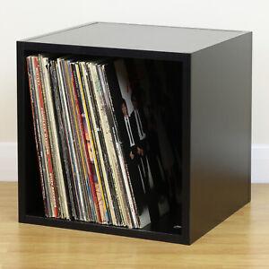 Black Square LP/Vinyl Music Record Storage Cube/Cabinet Box Home Display Unit