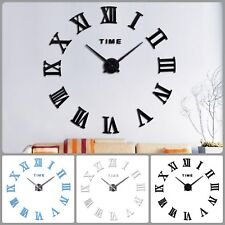Huge Clock Decal On Wall Stick Room Mirrored Decorations Large DIY Time Decor