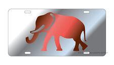 ALABAMA Crimson Tide Mirrored Silver Elephant License Plate / Car Tag