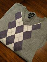 Men's Jos A Bank Signature Collection V-Neck Sweater Italian Merino Wool XXL 2XL