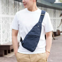 Men's Shoulder Bag Sling Chest Pack USB Charging Sports Casual Crossbody Handbag
