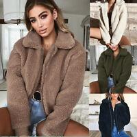 Women Winter Warm Teddy Bear Fluffy Coat Fleece Fur Jacket Zip Up Outerwear Tops