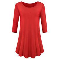 USA Women Casual Round Neck Long Tunic Top Dress 3/4 Sleeve Loose Shirt S M L XL