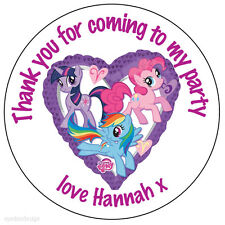 24 x Personalised My Little Pony Birthday Stickers Party Bag Thank You Seals 066