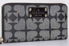 NEW KATE SPADE NEDA BLACK PEBBLED ACE OF SPADES ZIP AROUND WALLET CLUTCH