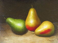 """""""Baccarat Pears"""" Original Hand Painted 12""""x16"""" Oil Painting Food Canvas Art"""