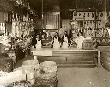 Old Time Butcher Shop Meat Market Sides of Beef Sawdust Floor Saws Barrels GREAT