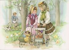VINTAGE GIRL DOLL TOY CARRIAGE BOY BICYCLE DALMATION PUPPY DOG TULIPS CARD PRINT