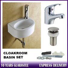 Compact Small D-Shape Wall Hung Cloakroom Ceramic Mini Basin Sink + Tap & Wastes
