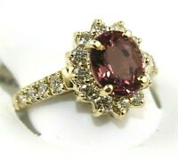 Oval Pink Tourmaline & Diamond Halo Solitaire Ring 14k Yellow Gold 3.57Ct