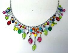 Colourful Rainbow Coloured Glass Bead and Metal Chain Costume Jewellery Necklace