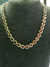 """Oval Shape Multi Gemstone Riviera Necklace Solid 14Kt Yellow Gold 34.40Ct 16"""""""
