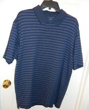 Roundtree and Yorke Short Sleeve Blue  Striped Polo Casual Shirt Mens XL EUC