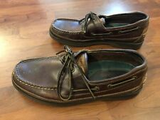 Sperry Top Sider Mako Collection Dark Leather Boat Shoes Mens Size 10