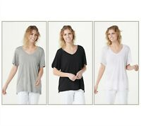 Peace Love World Set of 3 V-Neck Tee Bundle HthGr/Blk/White Size XX-Small