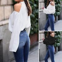 Mode Femme Casual Loisir Manche Longue Épaules dénudées Haut Shirt Tops Plus
