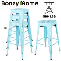 Set of 4 30 inch Heavy Duty Metal Bar Stools Vintage Distressed Counter Barstool