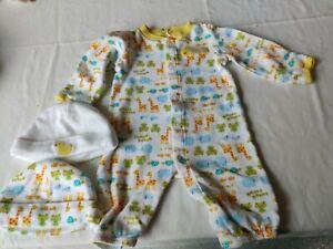 Carter's  Pajama romper 3 piece 2 hat/caps newborn
