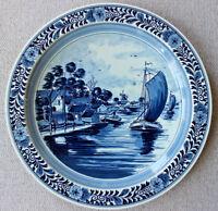 """gr. Wandteller D-35 cm """"Delfts"""" koeniglijk Delfts Fabriken Boote Hollandmotiv"""