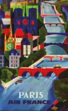 Paris   AIr France   Vintage Poster   A1, A2, A3