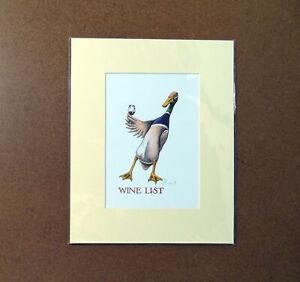 Wine List Simon Drew Mounted Print Matted Signed Christmas Gift Entertaining Art