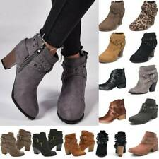 Women Ankle Chelsea Boots Lady Chunky Block Low Heel Booties Winter Shoes Size
