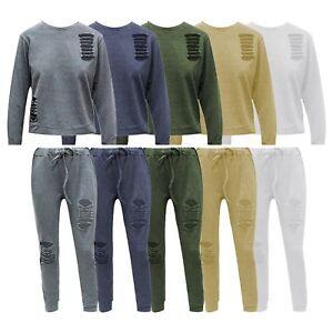 Womens Ladies Ripped Tracksuit Loungewear Sweatshirt Joggers Girl 2 Pcs Set 8-14