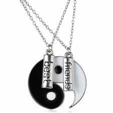 2 Yin Yang Pendant Necklace Black White Couple Sister Friend Friendship Jewelry