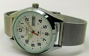 Citizen Automatic Men Steel White Dial Day Date Vintage 21 Jewel Watch Run Order