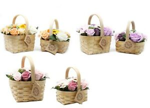 Gift Bouquet Soap Flowers - basket with realistic soap flowers  Mother's Day