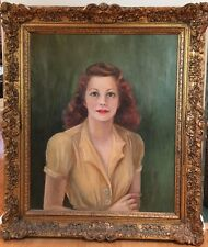 Vintage Mid Century 1940s Female Portrait Oil Painting Signed Framed
