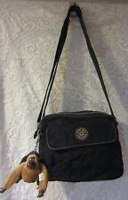 Vintage Kipling Black Crossbody Messenger Bag Double Monkey Zipper compartments