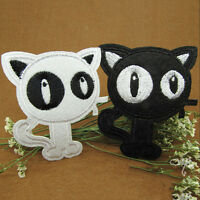 Embroidery Cloth Iron On Patch Sew Motif Applique Black & White CatsBSES