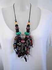 SALE 1/2 PRICE Multi-Coloured Beaded Tassel Necklace was $28 NOW $14