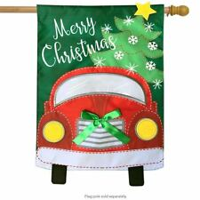 "Christmas Truck Applique House Flag Holiday 28"" x 40"" Briarwood Lane"
