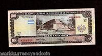 EL SALVADOR 100 COLONES P133 1980 PYRAMID RARE LATINO CURRENCY MONEY BANK NOTE
