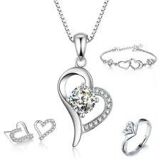 Halskette + Armband + Ohrringe + Ring Set Silber echt 925 Sterling Herz Schmuck