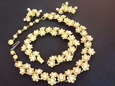 99NR VINTAGE CORO ? YELLOW ENAMEL RIVETED FLOWERS NECKLACE BRACELET EARRINGS SET